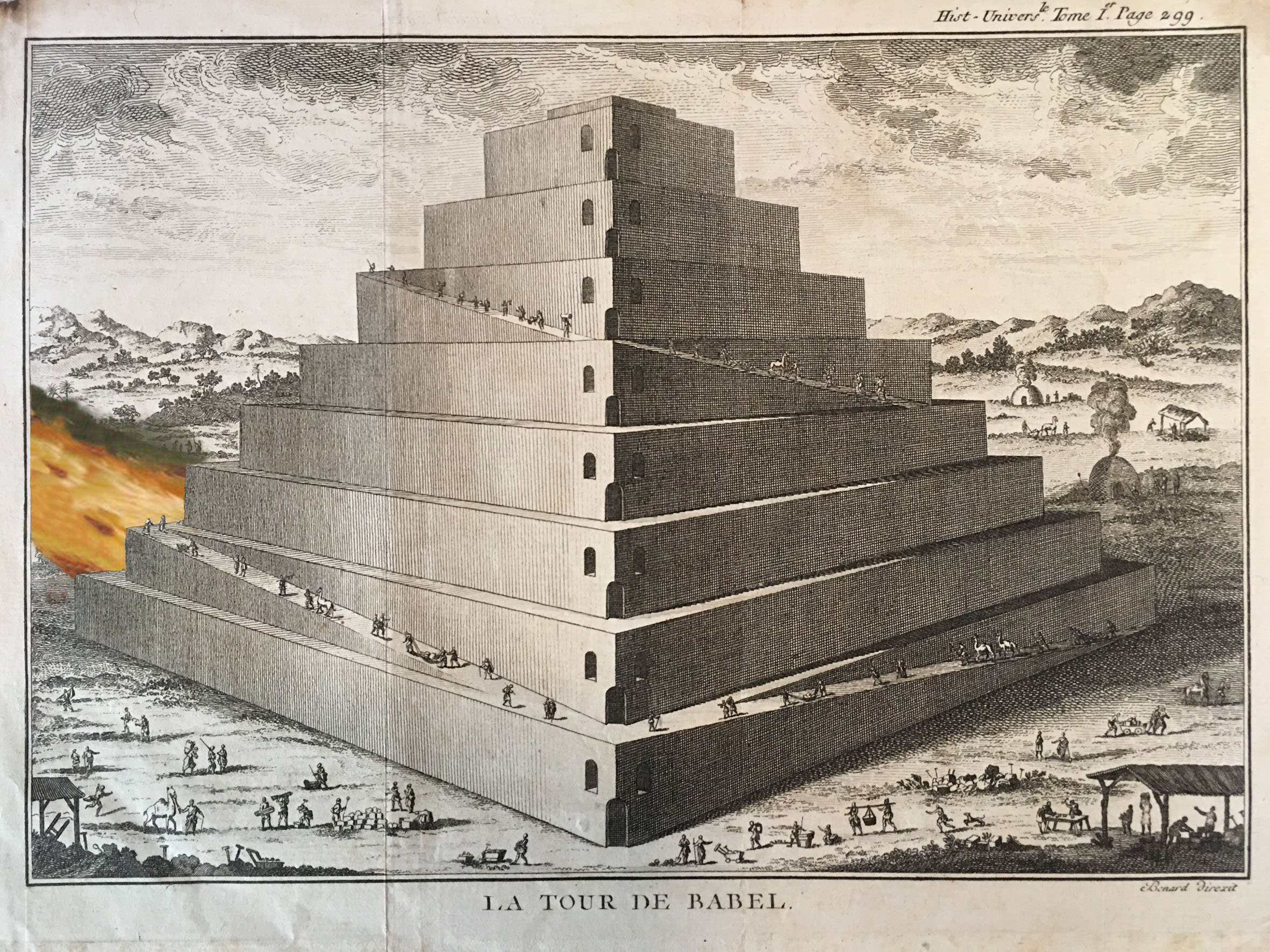 Artist unkown, after Bernard Direxit and Ed. Ruscha, The Tower of Babel on Fire, 2017. Colored engraving, 30 x 24 cm