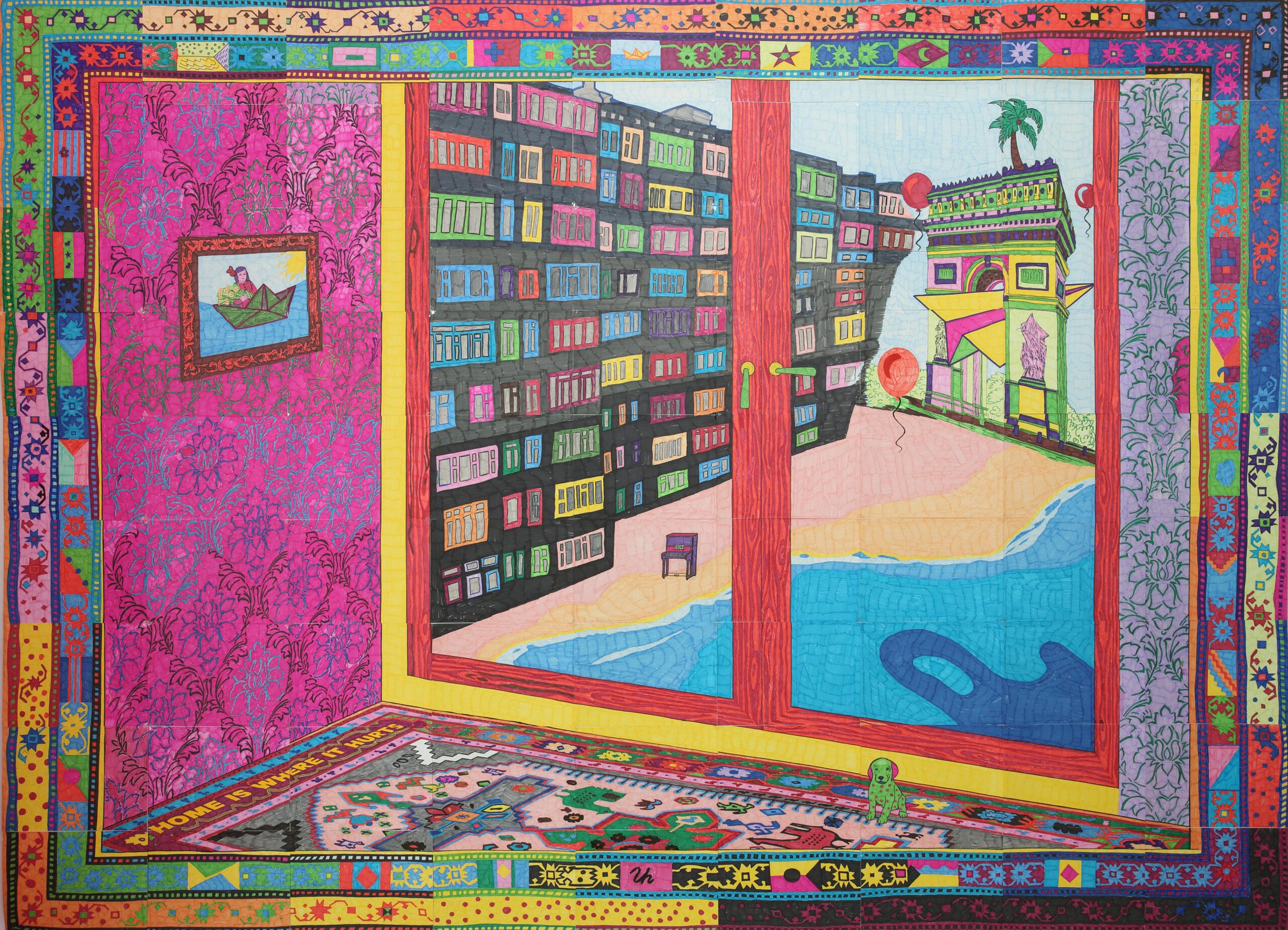 Las ventanas de mi casa / Les fenêtres de ma maison, assemblage de 81 feuilles A4, feutres sur papier, 181 x 251 cm, 2021 © Objets Pointus.